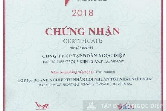 Tập đoàn Ngọc Diệp đạt top 500 Doanh nghiệp có lợi nhuận tốt nhất Việt Nam 2018